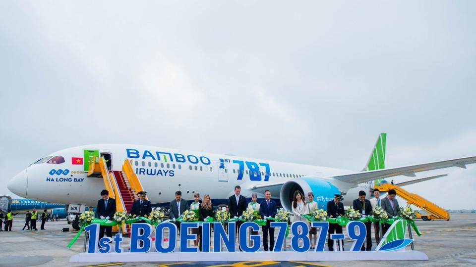 Máy bay Boeing 787-9 Dreamliner của Bamboo Airways.