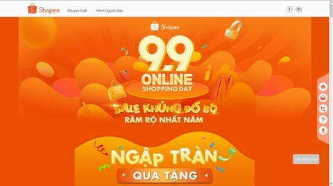 Giao diện website https://shopee.vn/99.