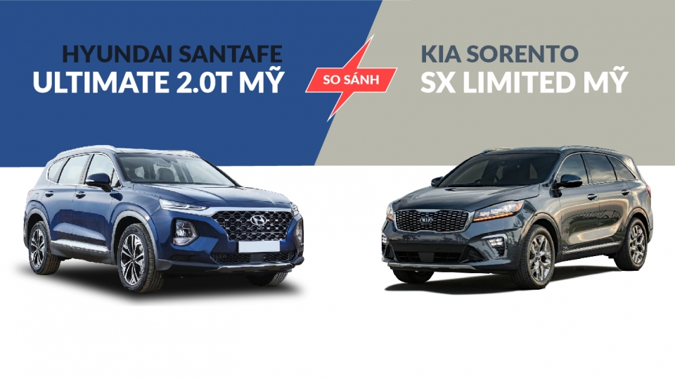 So sánh Hyundai SantaFe Ultimate 2.0T với Kia Sorento SX Limited